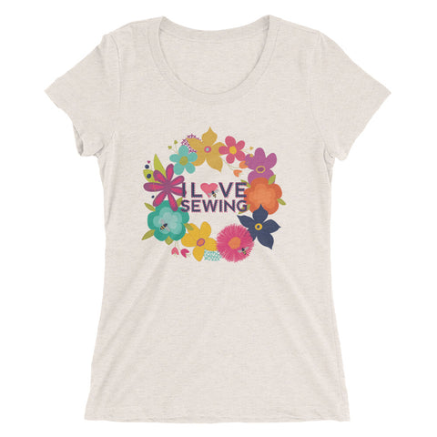 Sewing Floral Wreath Ladies' Short Sleeve T-shirt