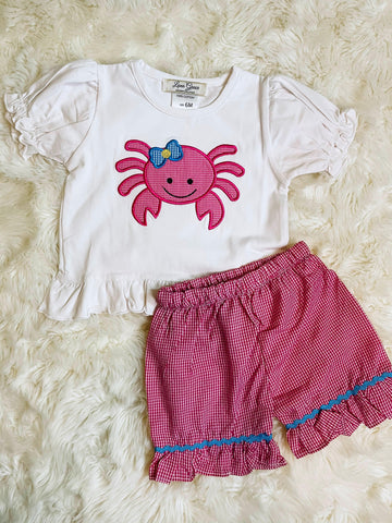 Girls Gingham Crab Appliqué Short Set