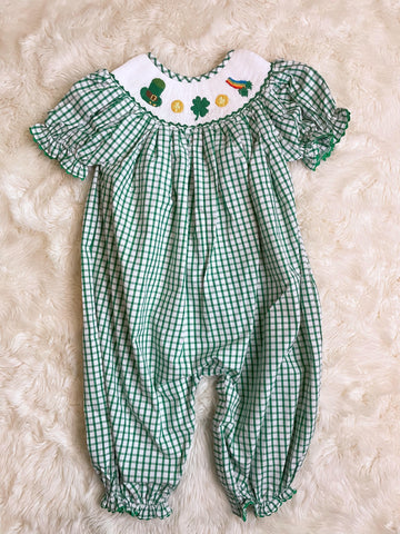 Girls Green Check St. Patrick's Day Smocked Long Bubble
