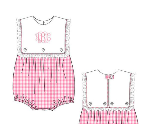 Girls Pink Gingham Monogram Bubble
