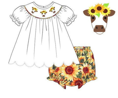 Girls White/Sunflower Smocked Cow Diaper Set