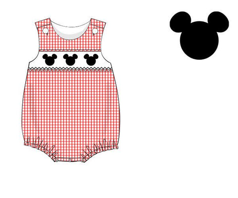 Boys Red Gingham Smocked Mickey Mouse Bubble