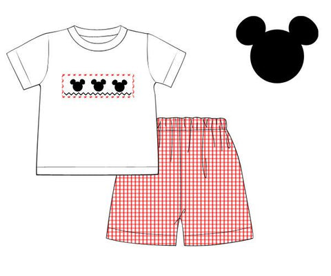 Boys Red Gingham Smocked Mickey Mouse Short Set