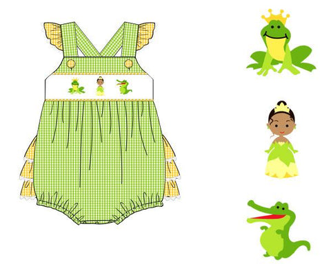 Girls Green/Yellow Gingham Smocked Tiana Bubble