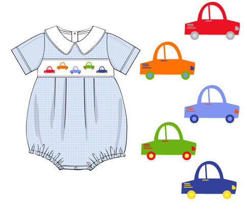 Boys Blue Gingham Smocked Car Collared Bubble