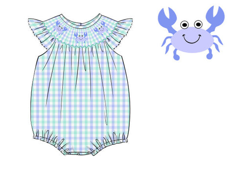 Girls Mint Plaid Smocked Crab Bubble