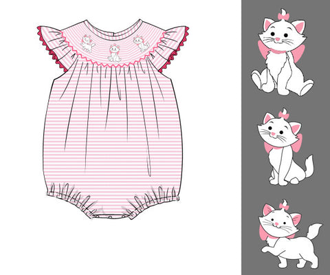 Girls Pink Stripe Knit Smocked Aristocrats Bubble