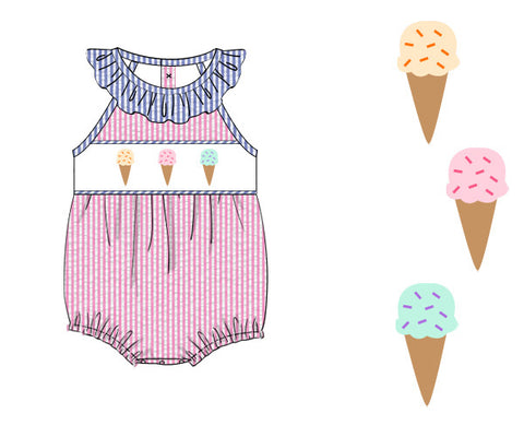 Girls Pink/Blue Seersucker Smocked Ice Cream Bubble