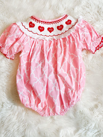 Girls Pink Lattice Smocked Valentines Bubble