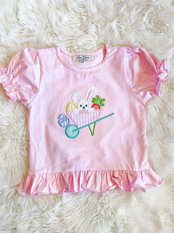 Girls Pink Easter Bunny Appliqué Ruffle Shirt