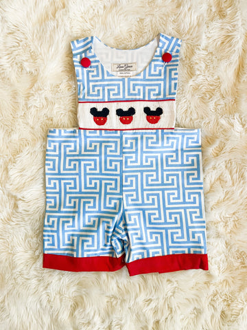 Boys Blue Pattern Smocked Mickey Mouse Romper