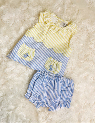 Girls Yellow/Blue Easter Seersucker Bloomer Set