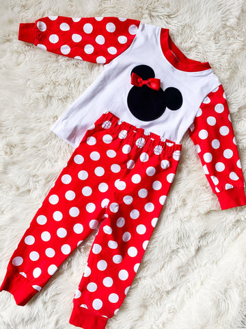 Girls Red Polka Dot Appliqué Minnie Mouse Knit Pajamas