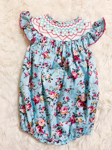 Girls Mint Floral Geometric Smocked Bubble