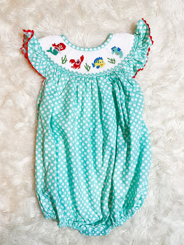 Girls Teal Polka Dot Smocked Ariel Bubble