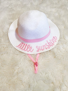 Girls White/Pink Embroidery Little Sunshine Hat