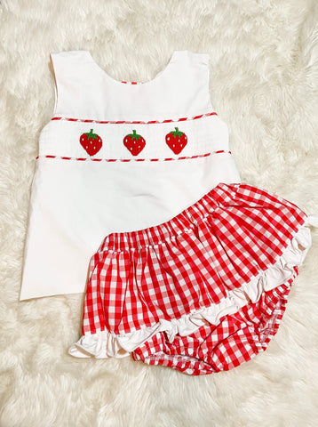 Girls Red/White Smocked Strawberry Skirted Bloomer Set