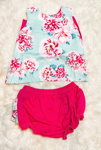 Girls Mint/Pink Floral Bloomer Set
