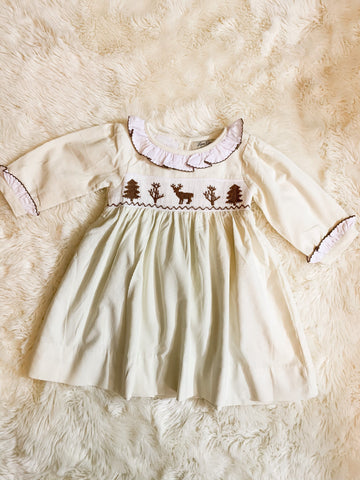 Girls Cream Corduroy Smocked Reindeer Dress