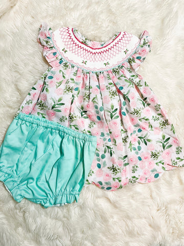 Girls Pink/Mint Floral Flutter Sleeve Bloomer Set