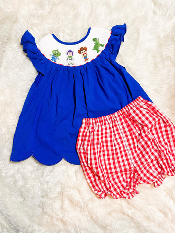 Girls Blue/Red Smocked Toy Story Check Bloomer Set