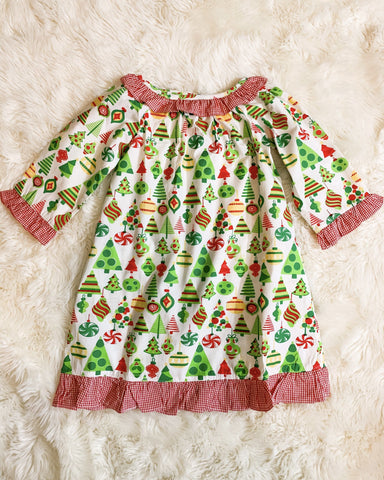 Girls Christmas Pattern Pajama Gown