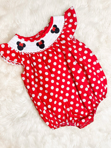 Girls Red Polka Dot Minnie Mouse Bubble