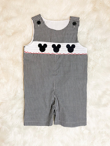 Boys Black Gingham Mickey Mouse Romper