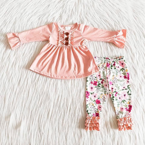 Girls Pink Floral Knit Set