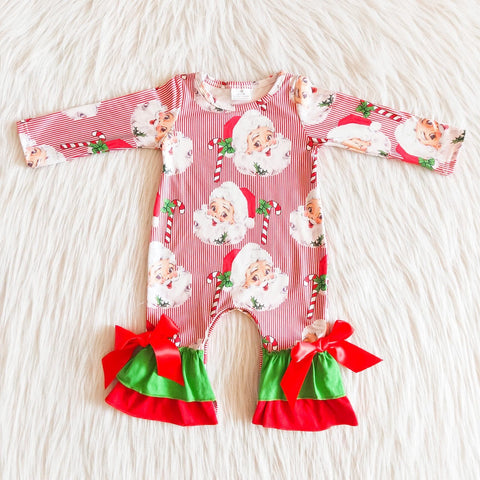 Girls Red Stripe Santa Ruffle Romper