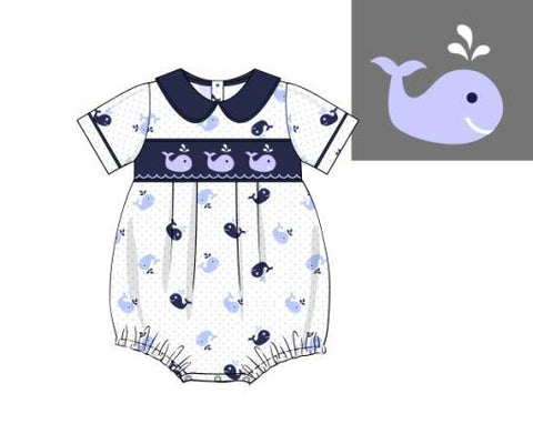 Boys Whale Print Embroidery Collared Bubble