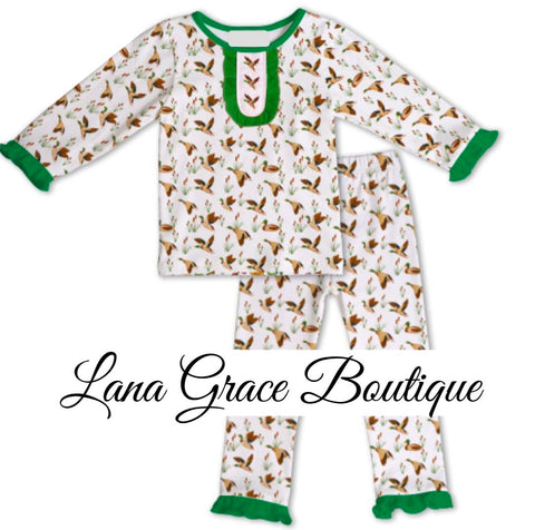 Girls Duck Embroidery Knit Pajamas