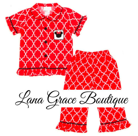 Girls Red Pattern Smocked Minnie Mouse Ruffle Pajama