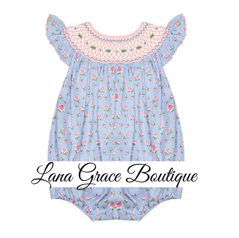 Girls Blue/Pink Floral Geometric Smocked Bishop Bubble