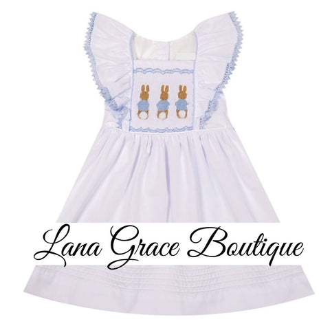 Girls White Flutter Sleeve Rabbit Embroidery Dress