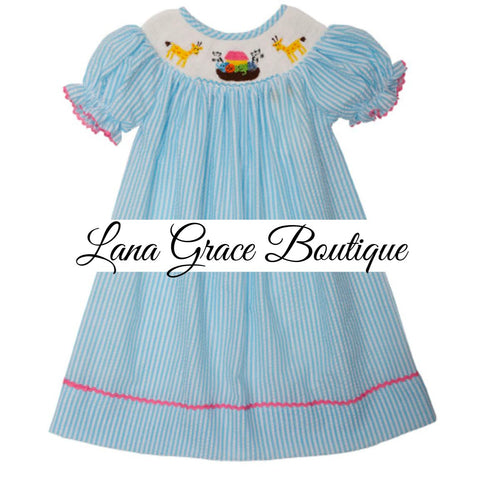 Girls Blue Stripe Seersucker Smocked Noah's Ark Dress