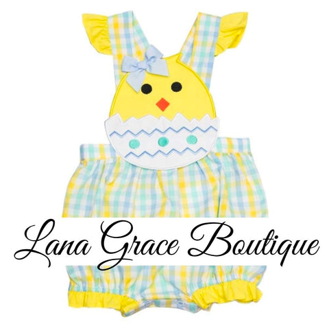 Girls Yellow/Blue Easter Chick Applique Bubble