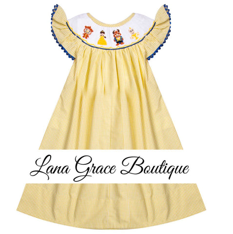 Girls Yellow Smocked Beauty & the Beast Dress