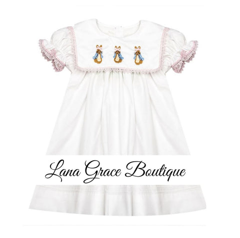 Girls White/Pink Lace Rabbit Embroidery Bib Dress