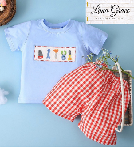 Boys Blue Smocked Tools Red Check Short Set