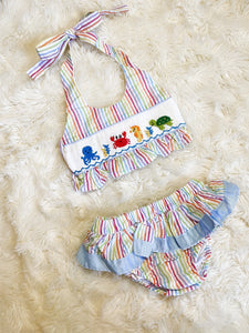 Girls Rainbow Seersucker Smocked Sea Creature 2 Piece Swimsuit