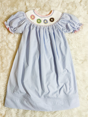 Girls Blue Gingham Smocked Donut Dress