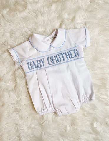Boys Blue/White Smocked Baby Brother Collared Bubble