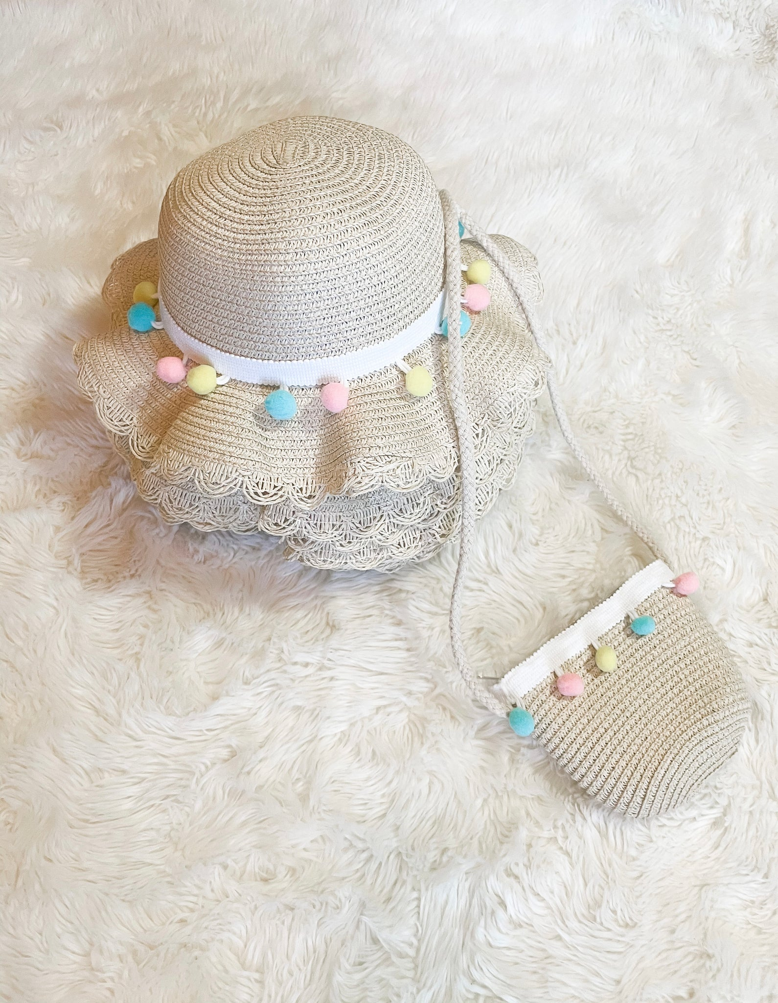 Girls Straw Pom Pom Hat