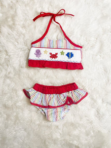 Girls Rainbow Seersucker Sea Creature Smocked 2 Piece Swimsuit