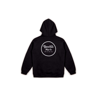 felpe brixton WHEELER HOOD FLEECE BLACK/WHITE