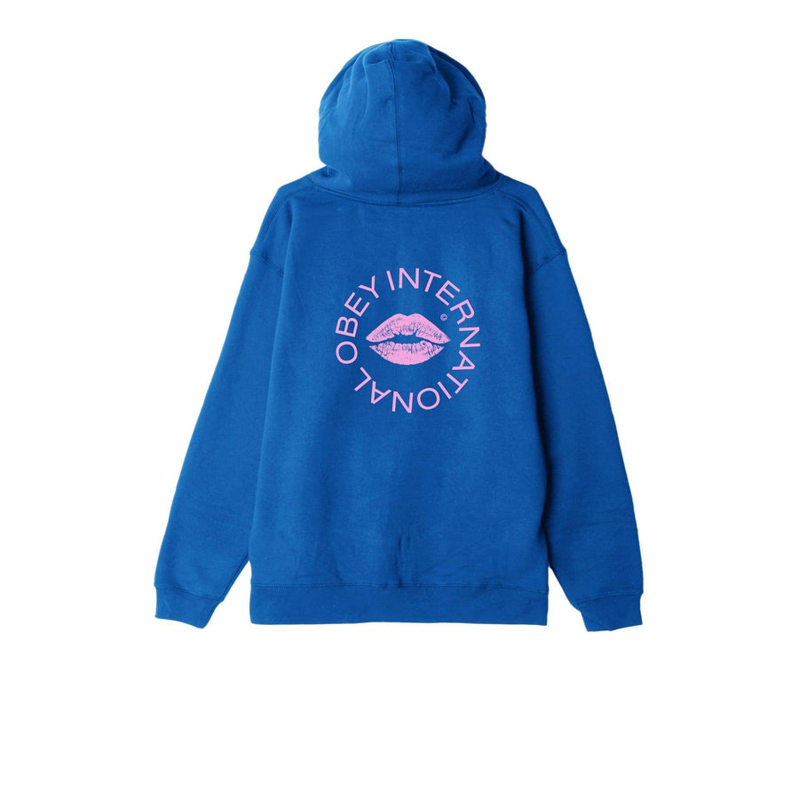 obey felpe,Kiss Of Obey Basic Pullover Hood Fleece Royal Blue, image 1