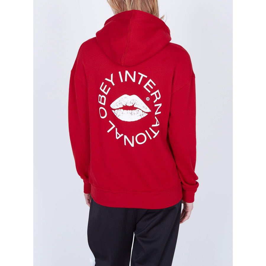 obey felpe,Kiss Of Obey Delancey Pullover Hood Fleece Chili Pepper, image 1