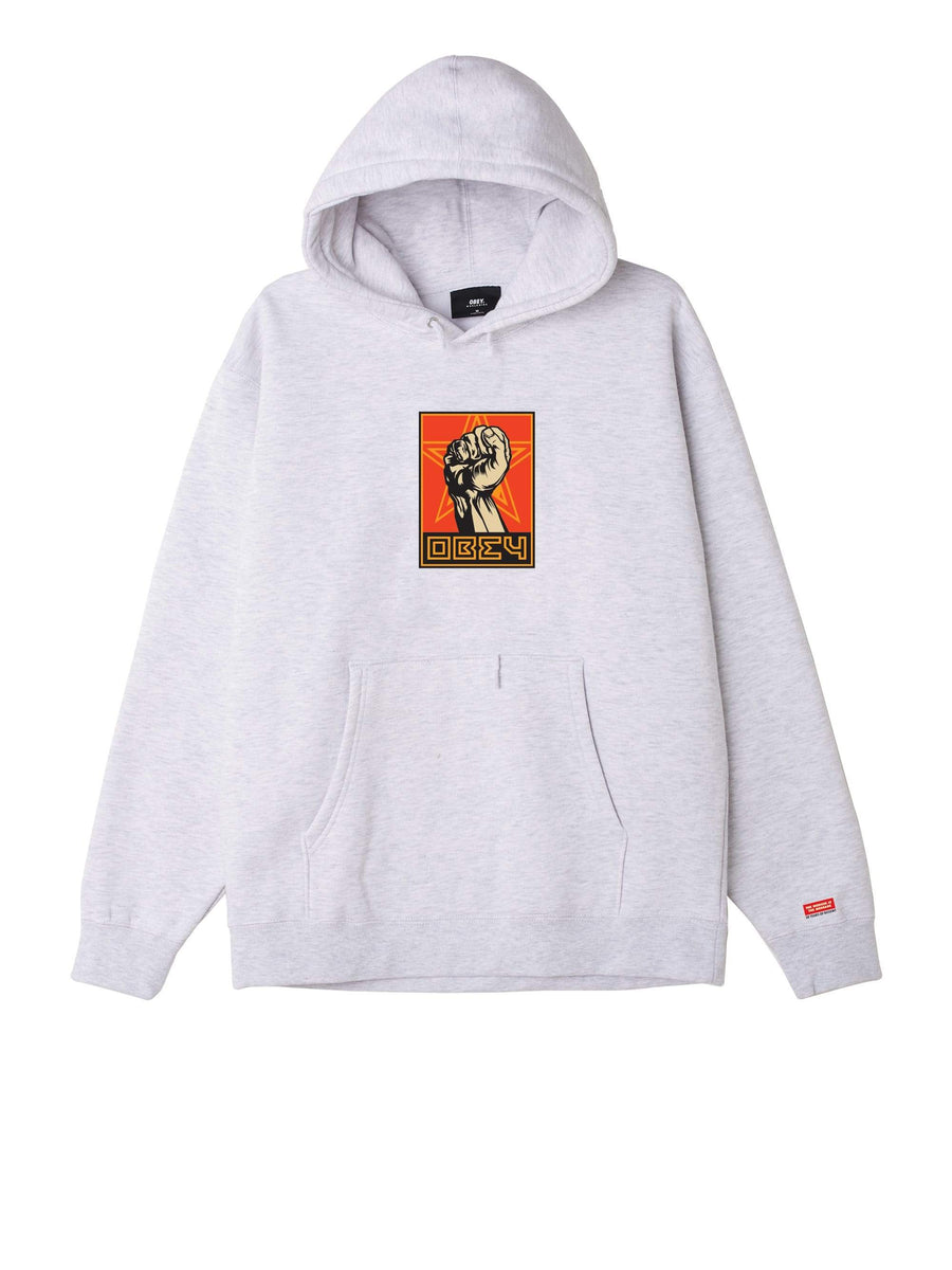 obey felpe,Obey Fist 30 Years Box Fit Premium Hood Heather Ash, image 1