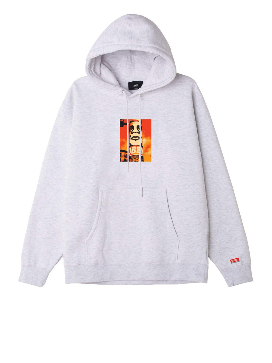 obey felpe,Obey Pole 30 Years Box Fit Premium Hood Heather Ash, image 1